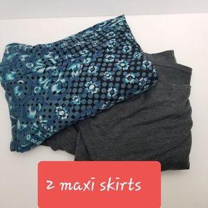 LuLaroe Maxi Skirt Medium gray blue printed long